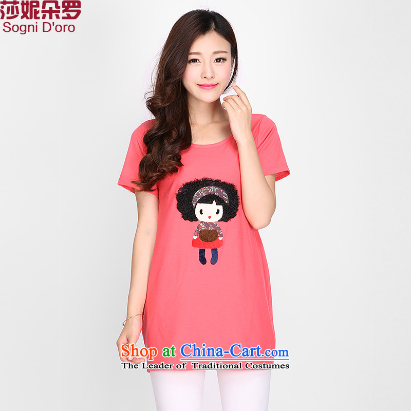 Luo Shani flower code T-shirts female loose thick mm summer knitted stamp graphics) Korean thin short-sleeved T-shirt 2109 rose red 6XL