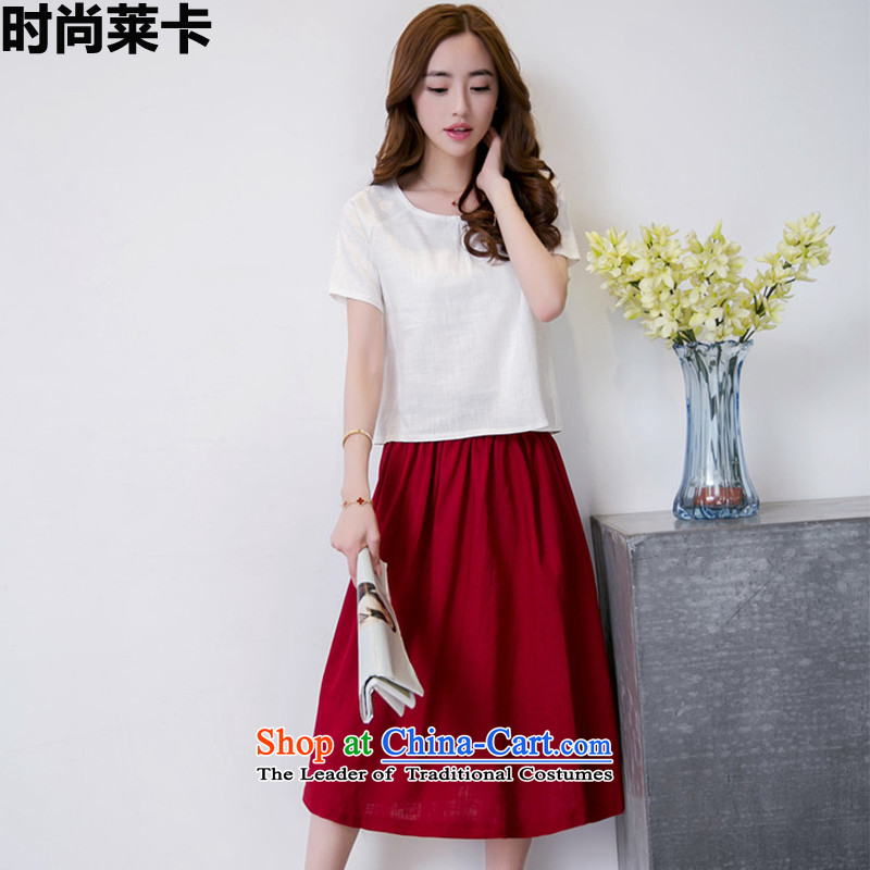 Stylish 6934Summer 2015, Korean literature relaxd comfortable antique two kits dresses 2003 m red燲L