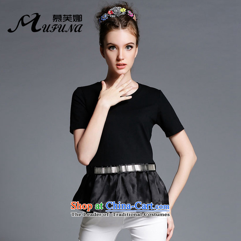 Improving access of 2015 Summer new xl female thick mm loose round-neck collar stitching OSCE root A yarn black short-sleeved T-shirt female clothes1895BlackXL