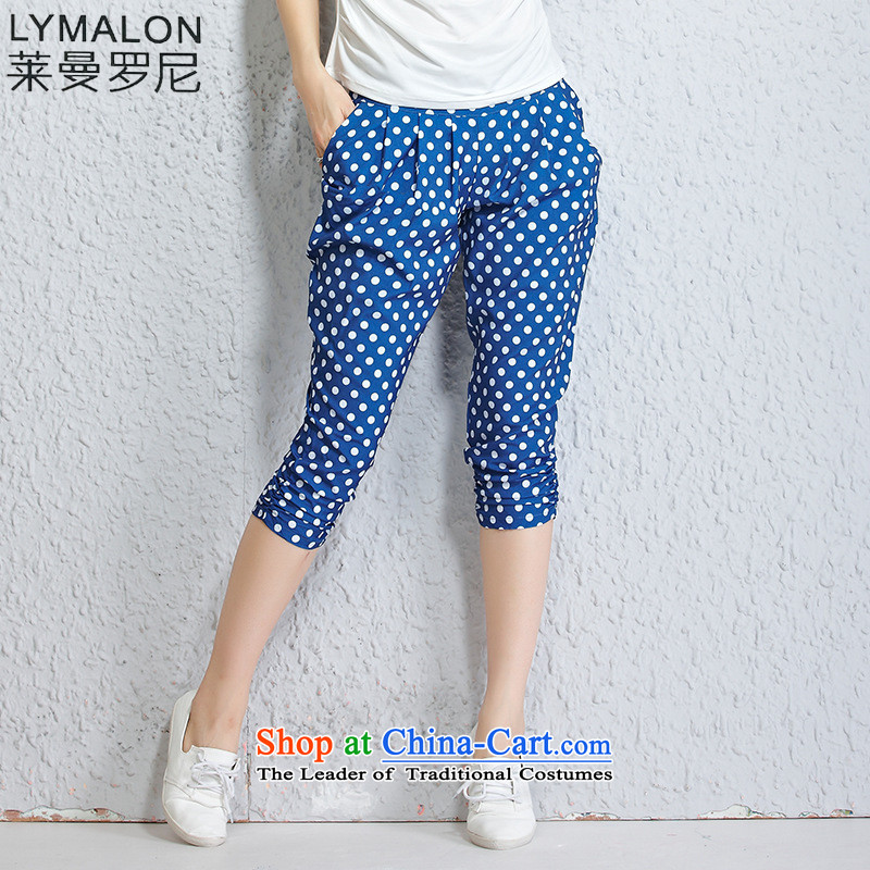 The lymalon Lehmann 2015 Summer new larger women in waist wave snow woven trousers Harun Leisure Capri 1201 color blue燲L