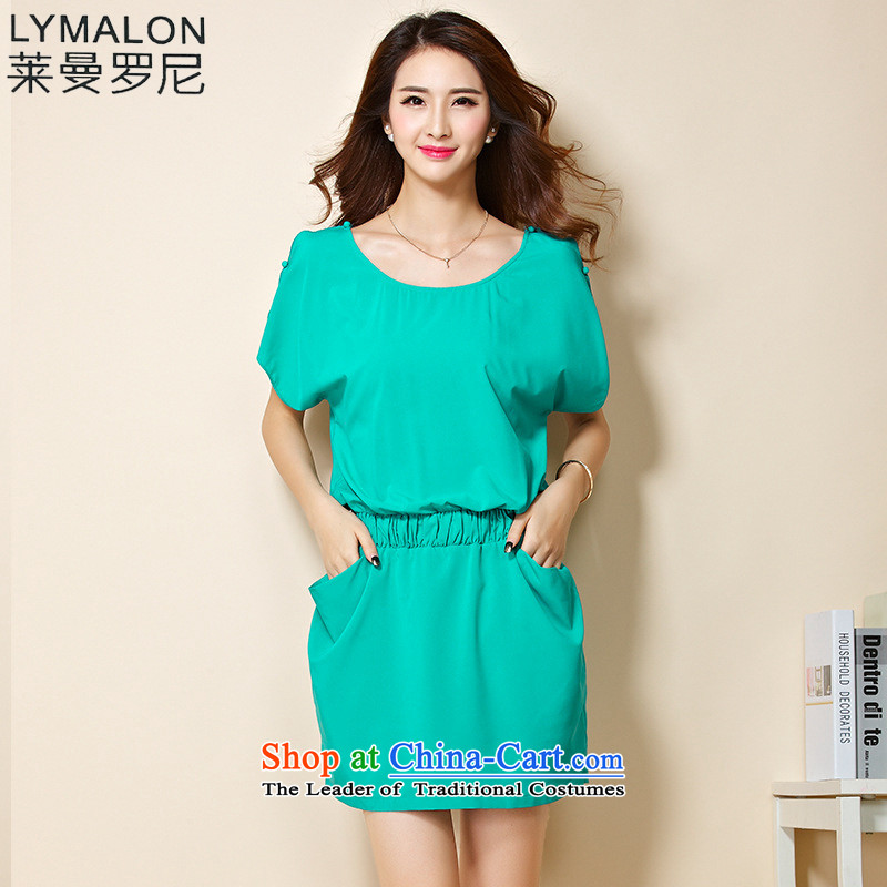 The lymalon Lehmann 2015 Summer new stylish and simple larger female loose solid color foutune chiffon dresses 1209 ice green燲L