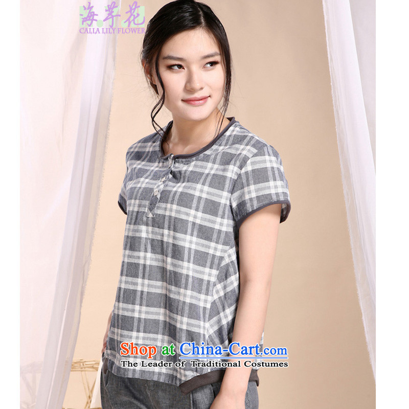The sea route to spend the new pure cotton sand washing round-neck collar plaid larger 5AFS 14 T-shirt color4XL