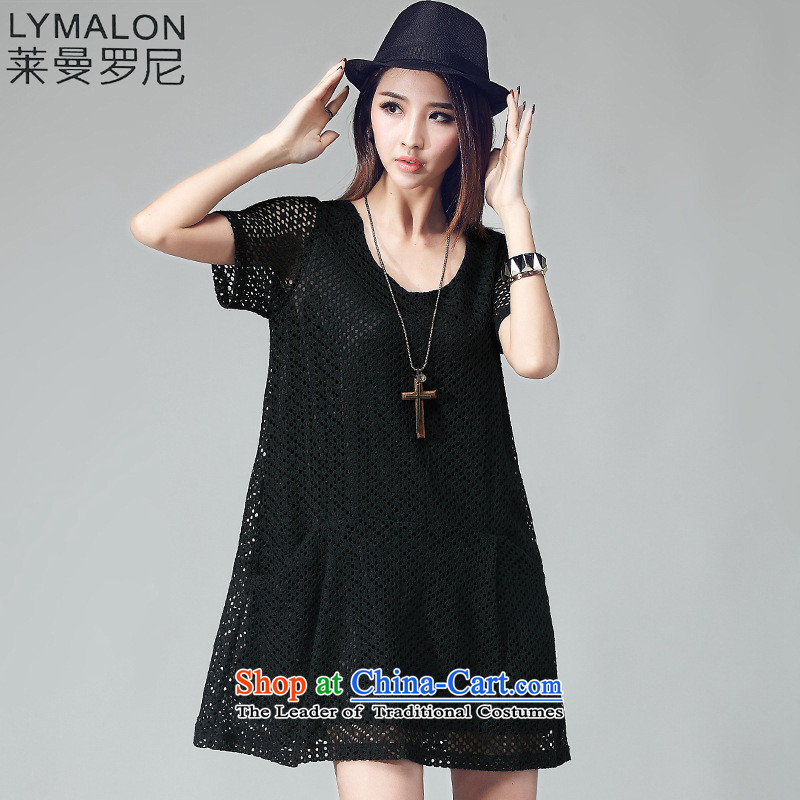 The lymalon lehmann thick, Hin thin 2015 Summer new Korean version of large numbers of ladies Lace Embroidery engraving grid dresses 2035 Black燲L