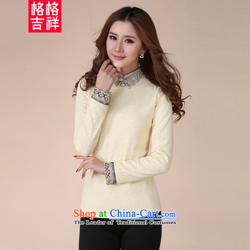The interpolator auspicious聽2015 XL female autumn and winter new mm thick video thin thick plus forming the lint-free t-shirt Sau San lapel lace shirt Y1066 apricot聽3XL T-Shirt