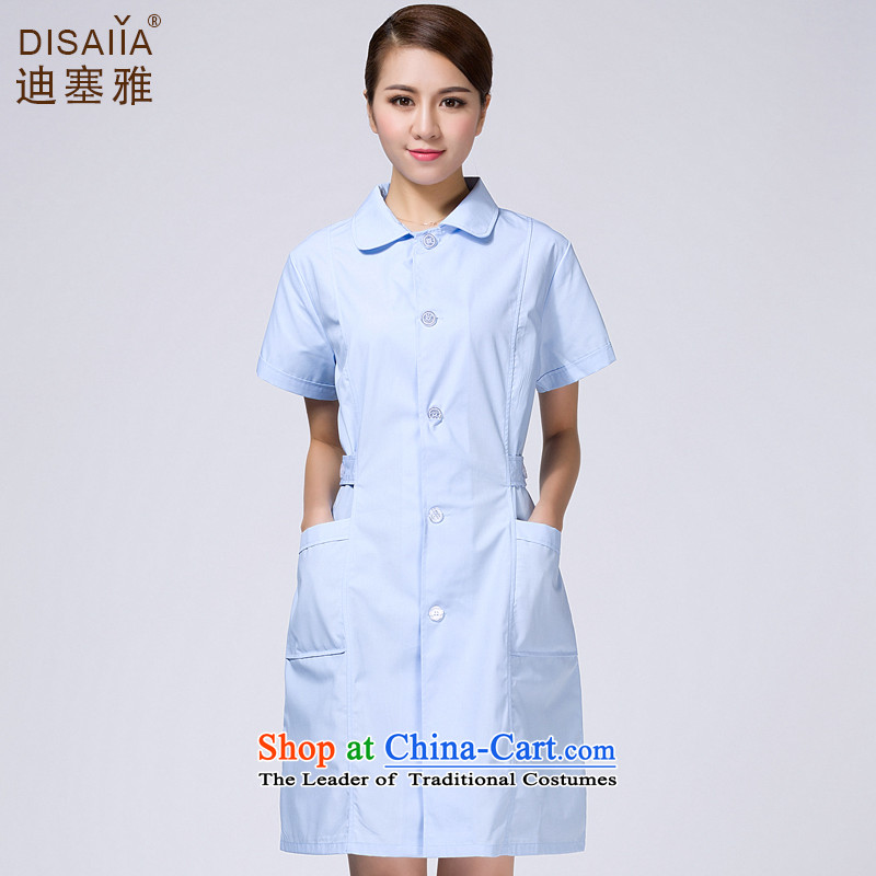 Ducept Nga summer new short-sleeve female interns nurse uniform pharmacies workwear white gowns blue circle licensed belt - Women燲L