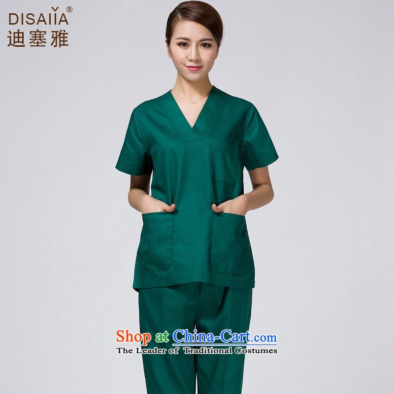 Ducept Nga Yi brush hand-washing clothes female isolation nurse uniform split pure cotton clothes female greenL Surgery