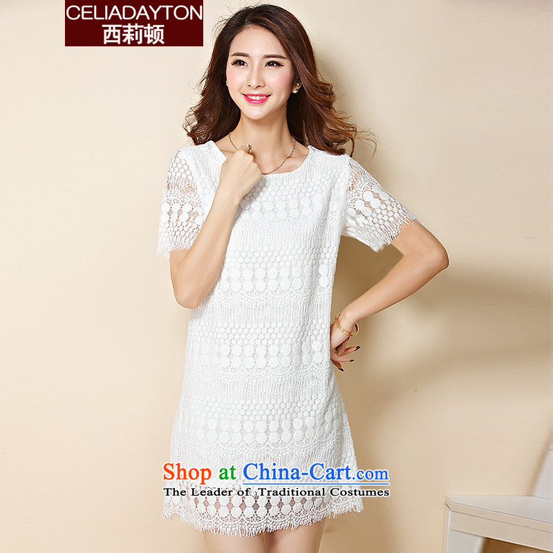 Szili Clinton chiffon lace dresses Summer 2015 mm thick new to xl relaxd temperament short-sleeved dresses thick Mei gentlewoman even turning short skirts white petticoat燲L