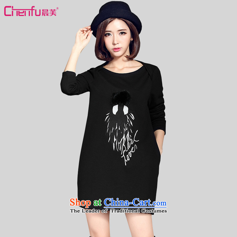 Morning to 2015 autumn and winter new larger female plus lint-free thick long-sleeved dresses thick MM Sleek and versatile 3D pattern long sweater island lint-free dresses black�L爎ecommendations 130-140 catty
