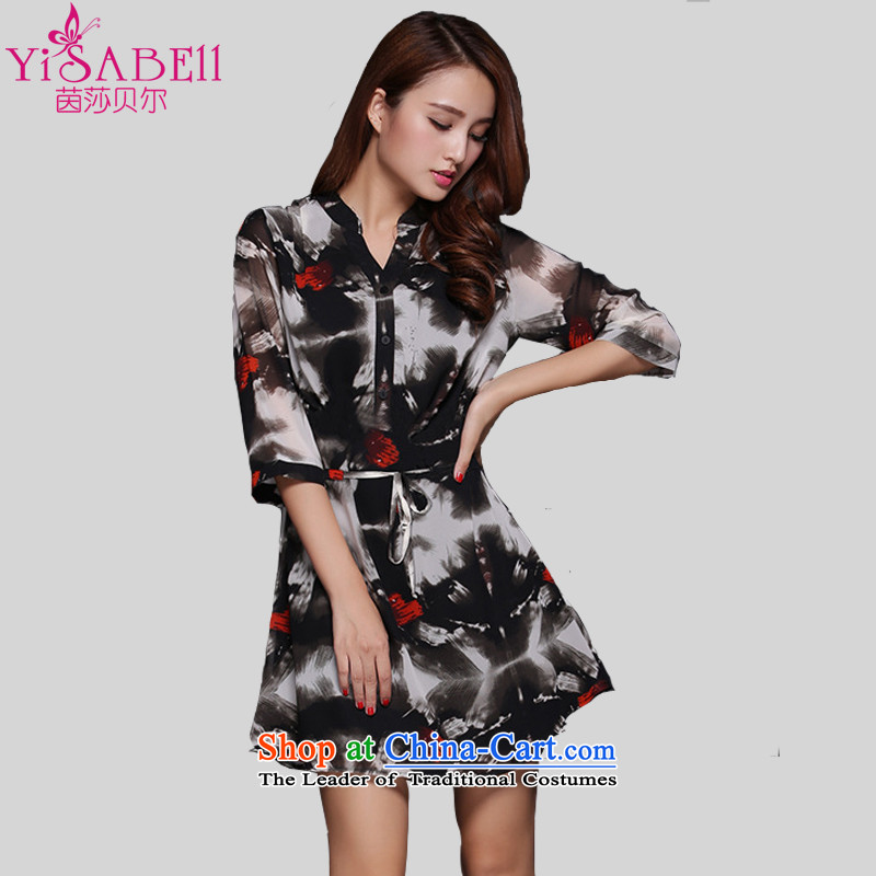 Athena Chu Isabel 2015 to increase the number of women in the autumn of replacing the chiffon skirt ink stained dress 7 Sleeve V-Neck Sweater Chiffon Netherlands�68燘lack�L爎ecommendations 165-180 catty