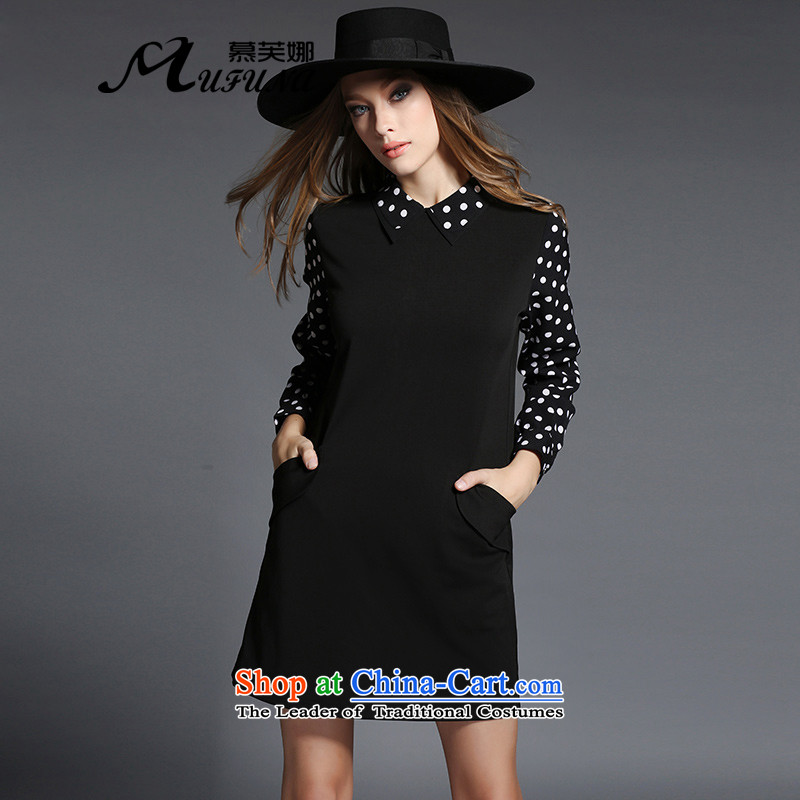 Improving access to the increase in women's code 2015 Fall_Winter Collections thick mm wave point lapel Sau San video thin solid long-sleeved dresses燛2533燽lack�L