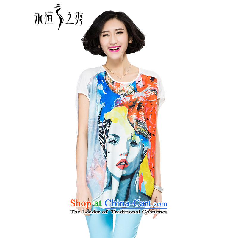 The spring and summer of 2015 mm thick large new women's stylish and classy Western Digital Printing loose video thin short-sleeved T-shirt map color�L