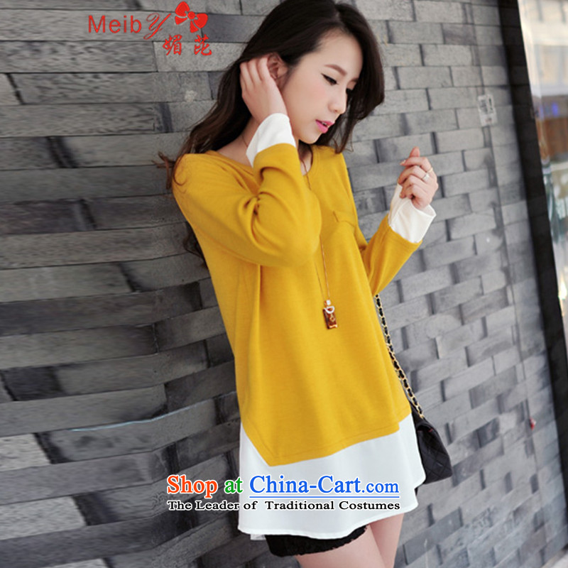 Sleek and versatile autumn meiby load to increase women's code thick mm large new Korean loose video thin leave two long-sleeved T-shirt dresses 6325 turmeric yellow�L
