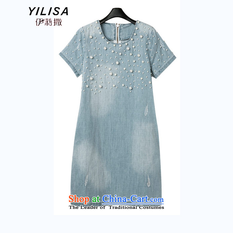 Europe and the increased number of female YILISA load new summer denim dress thick mm summer nail pearl denim dress Denim blue skirt M151 cowboy blue聽4L recommendations 160-180 catty