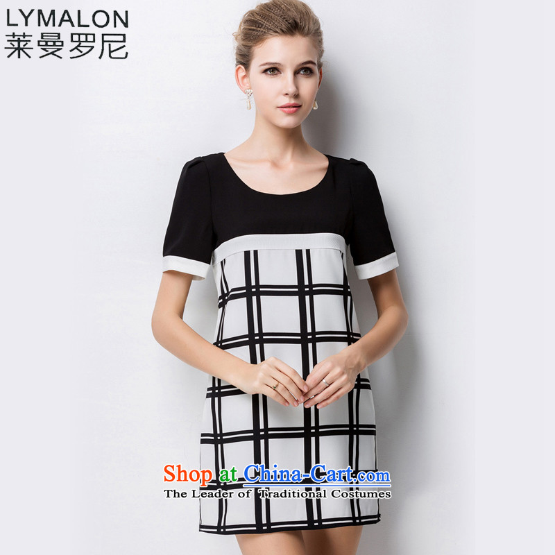 The lymalon lehmann thick, Hin thin 2015 Summer new high-end western thick m large female plus snow woven short-sleeved dresses 1335 picture color�L