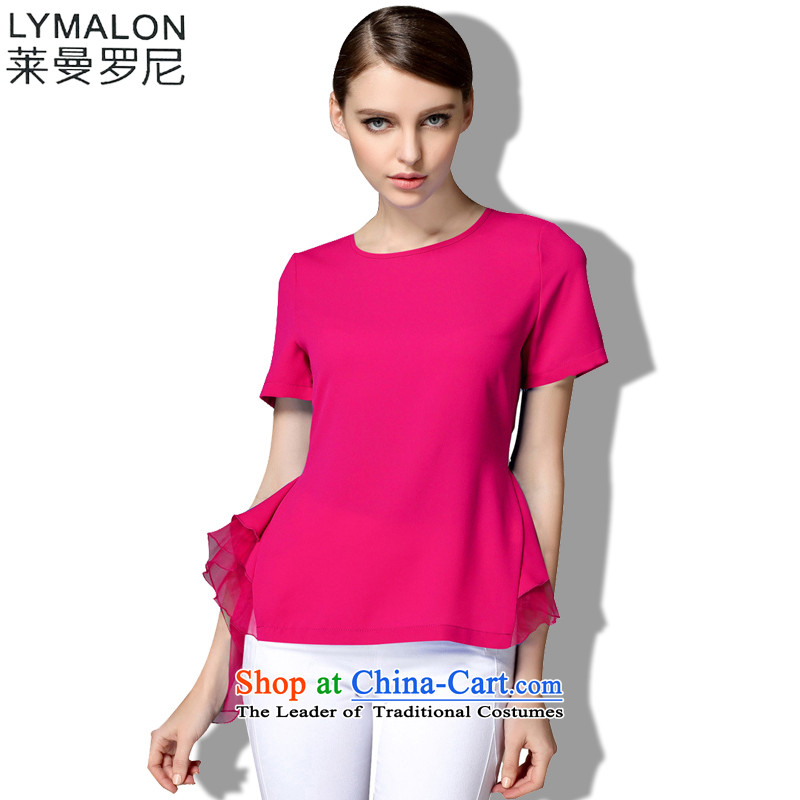 The lymalon2015 lehmann summer new high-end western thick mm larger women to increase short-sleeved T-shirt chiffon 1337 Ko Yo Red燲XL