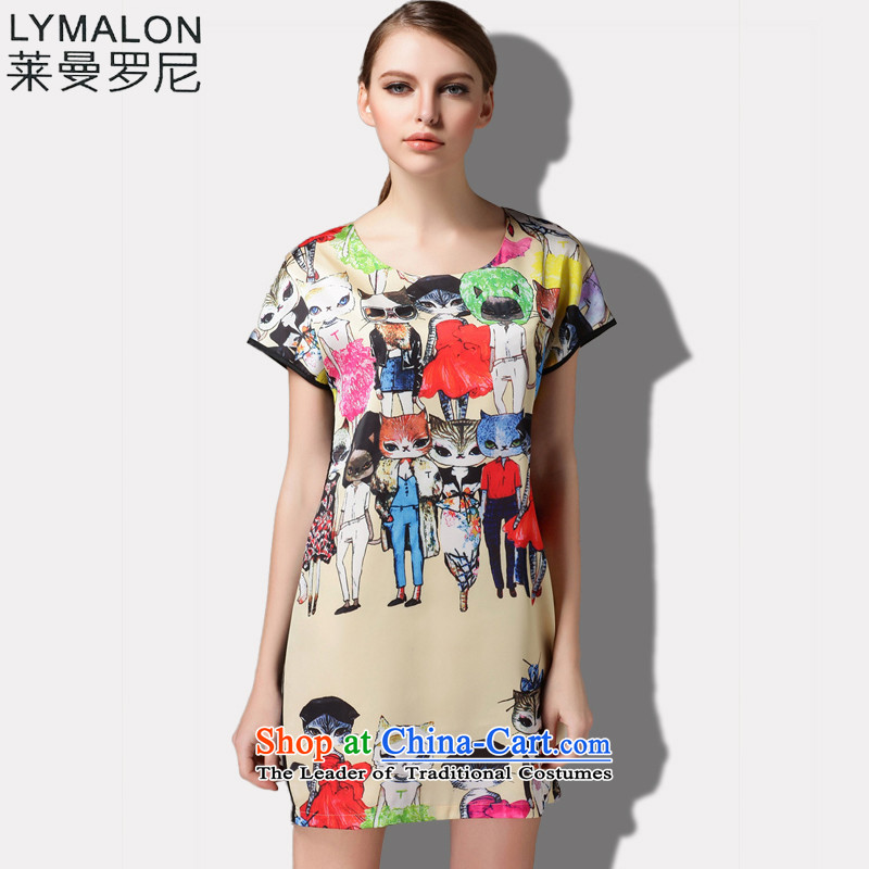 The lymalon lehmann thick, Hin thin 2015 Summer new high-end western thick m large female plus snow woven short-sleeved dresses 1517 picture color燲XL