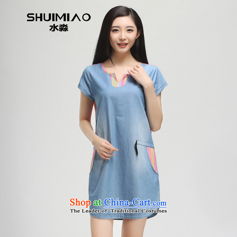The representative of the water for larger women 2015 Summer new mm thick Cotton Denim short-sleeved dresses female S15XY4985 cowboy,L