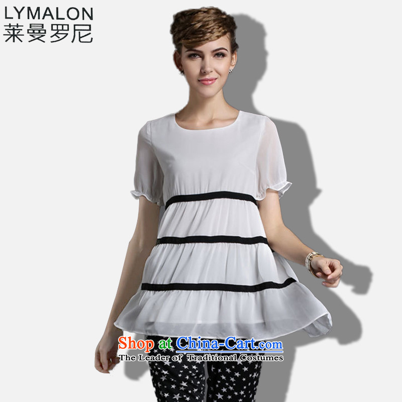 The lymalon2015 lehmann spring new high-end western thick mm larger women to increase short-sleeved T-shirt chiffon 1839 White燲XL