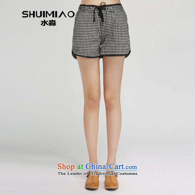 The representative of the water in the summer of 2015, replacing the new 200 catties xl female pure cotton checked shorts female hot pants S15XT5051 checkered燤