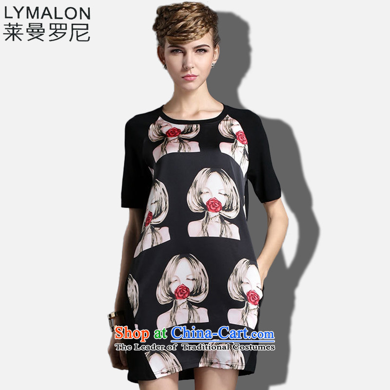 The lymalon Lehmann 2015 Summer new high-end western thick mm larger female plus snow woven short-sleeved dresses燲XXL color photo 1848