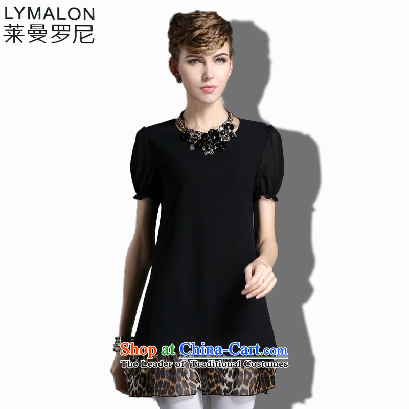 The lymalon Lehmann Spring 2015 high-end western thick mm larger women to increase short-sleeved chiffon dresses 1873 Black燲XL