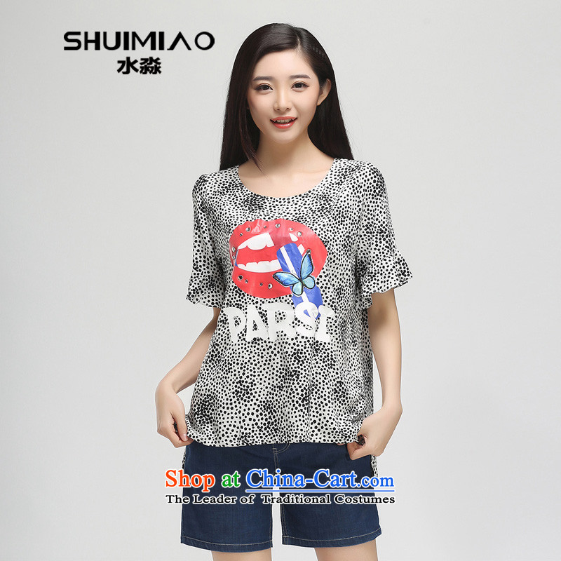 The representative of the water 2015 Women's Summer new fat mm to xl chiffon short-sleeved T-shirt S15XK4784 female black & white pointXXL