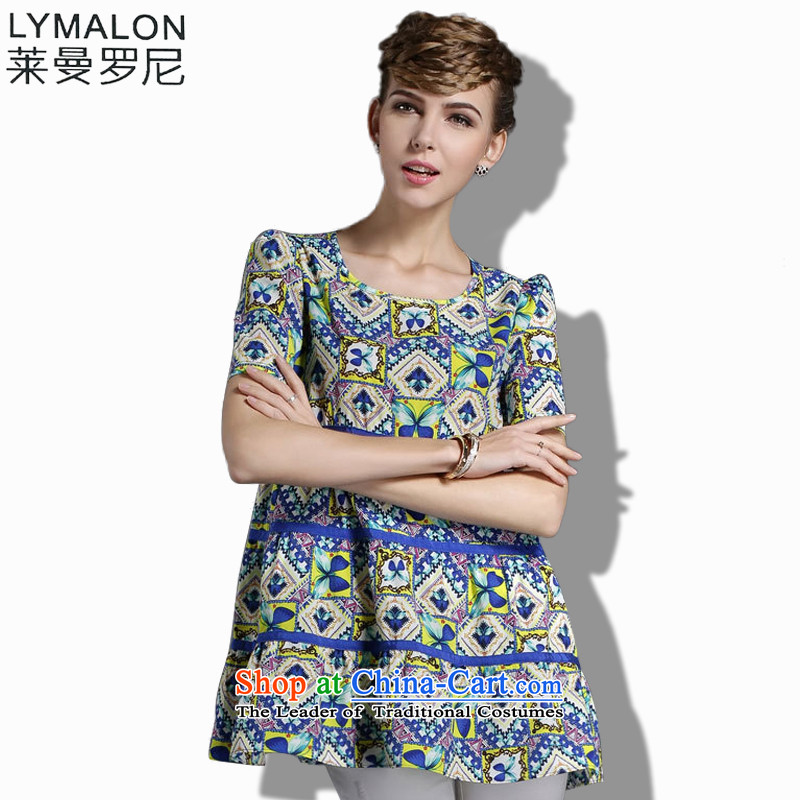 The lymalon Lehmann 2015 Summer new high-end western thick mm larger women to increase short-sleeved shirt 1855 pictures chiffon colored燲XL