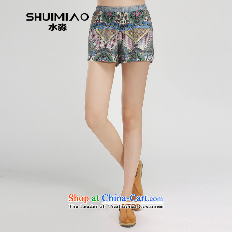 In the summer of 2015 by water female new elastic waist xl 4-pop-girl cutoffs S15XT4876 shorts, white and blue floral燲L