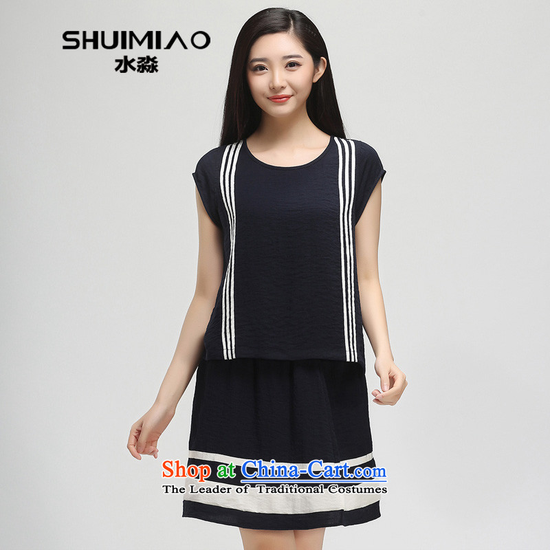 In the summer of 2015 by water new products 200 catties xl female thick mm stripe short-sleeved T-shirt female S15XK5009 navy blue燲L