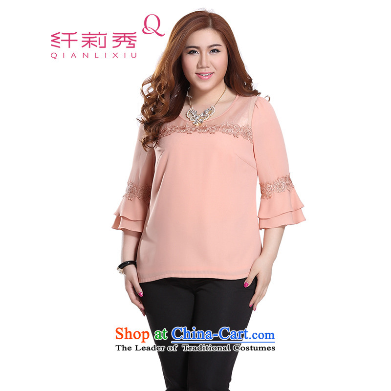 The former Yugoslavia Li Sau 2015 Summer new EAPC code female Euro root yarn stitching lace horn cuff chiffon shirt shirt Q7989 pink 4XL