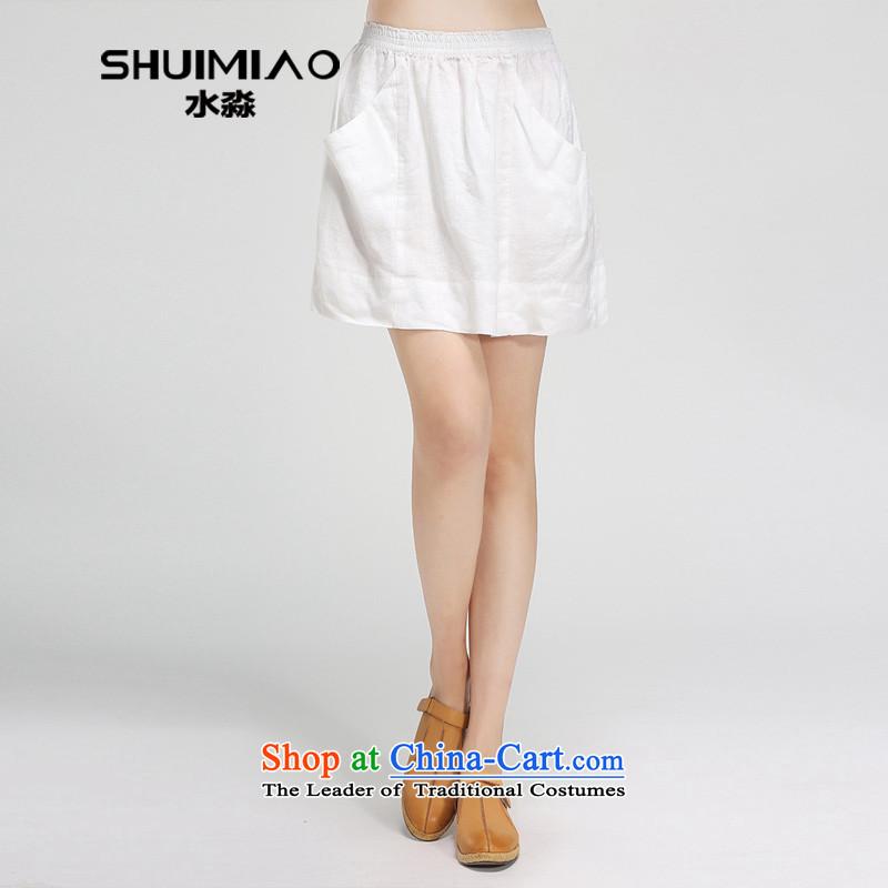 By 2015, the Water Code women's summer new elastic waist candy linen short skirt body 15XB4925 skirt white燣