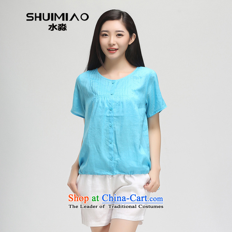 In the summer of 2015 by water New Product Code women 200 catties thick mm loose cotton linen, short-sleeved T-shirt female 15XC5080 2,005XXL