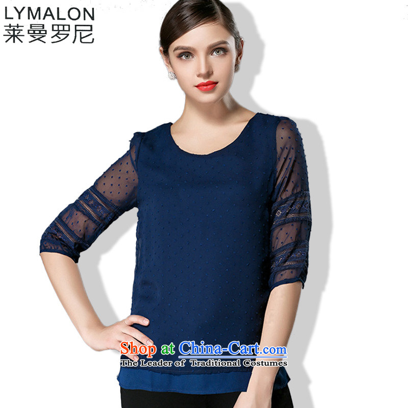 The lymalon Lehmann 2015 Summer new high-end western thick mm maximum code to increase women's loose long-sleeved T-shirt 3341 Blue燲L