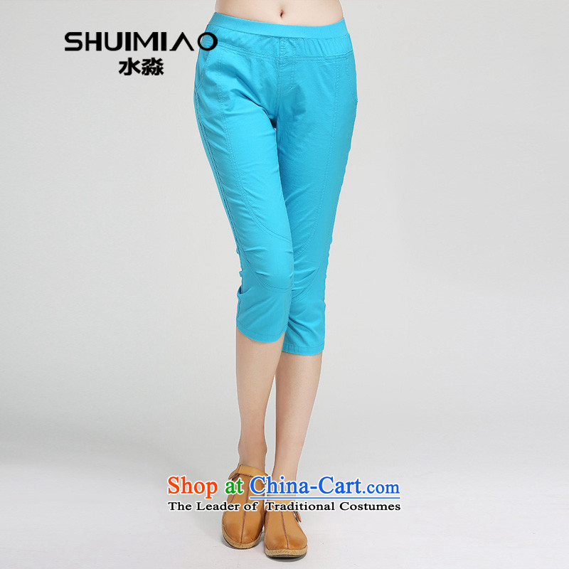 The representative of the water for summer new larger female thick mm elastic waist candy color cotton capri pants 15XL4804 female 2,005燤