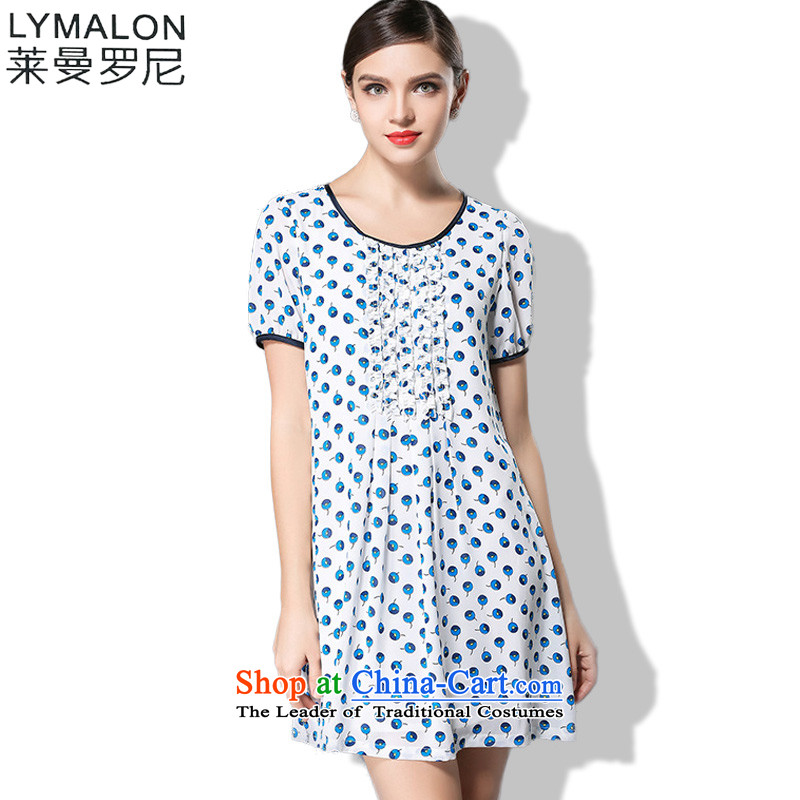 The lymalon lehmann large summer 2015 women's high-end to increase expertise western sister short-sleeved dresses 3354 Blue ice�L
