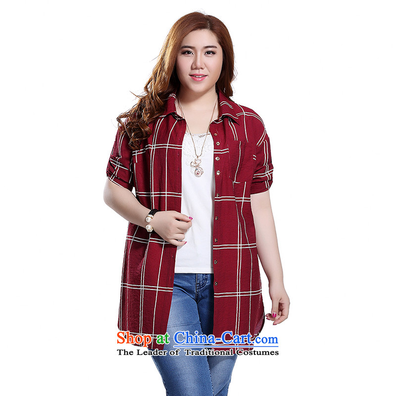 The former Yugoslavia Li Sau 2015 Summer new larger female lapel leisure and latticed Korean version of long long sleeved shirt Q7283聽3XL wine red