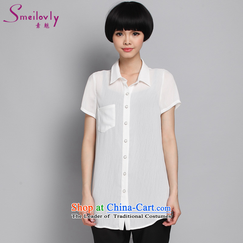 The Director of the new summer 2015 XL female Korean thick MM stylish OL temperament chiffon shirt thin爈arge White XXL Code 1357