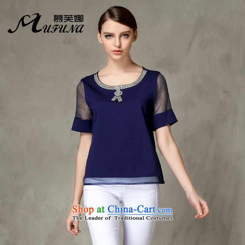 The Europe and improving access for larger women's summer new thick mm europe elegant parquet drill root of T-shirt loose video thin short-sleeved T-shirt with round collar�36燘lue燲XXL