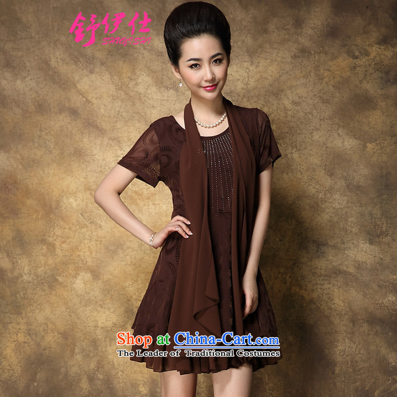 Schui Sze high-end atmospheric summer code female middle-aged ladies dress ironing drill gauze cuff leave two multi-layer under forming the skirt elegance is simple and classy XXXL brown tides