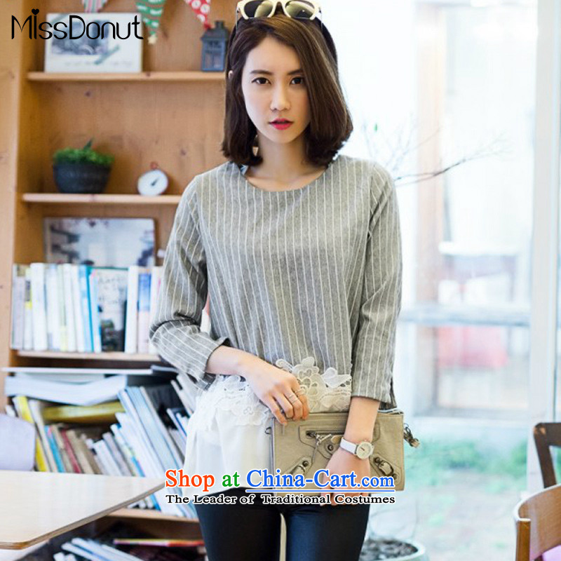 To increase the number missdonut2015 female thick mm Korean fake two loose chiffon lace stitching in long Striped Tee Shirt large gray code XL