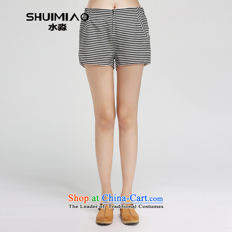 The representative of the water in the summer of 2015, replacing the new xl female thick mm cotton linen Striped Shorts female hot pants S15XT5012 black and white,燣