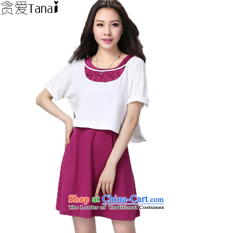 Coveted summer new liberal two kits of thick xl women's dresses Kit 2208 White +聽XXXL aubergine