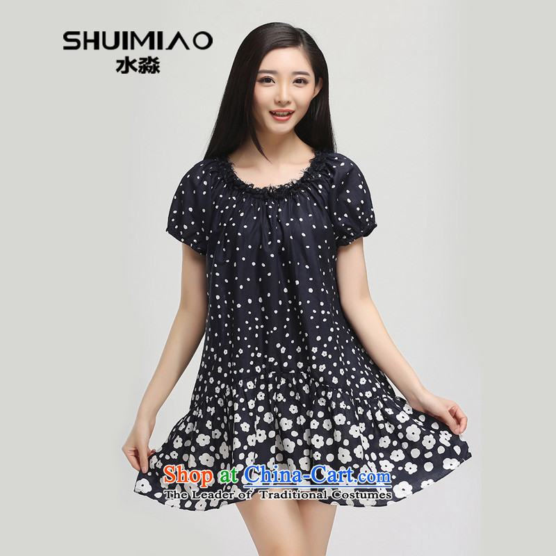 In the summer of 2015 by water Women's clothes new xl pure cotton short-sleeved saika dresses skirts 15XY5135 possession of femaleL