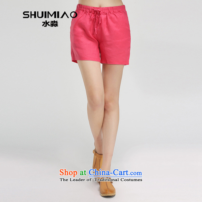 2015 Women's own water summer new larger female thick mm linen pants women and three hours in the red trousers S15XT4931 M