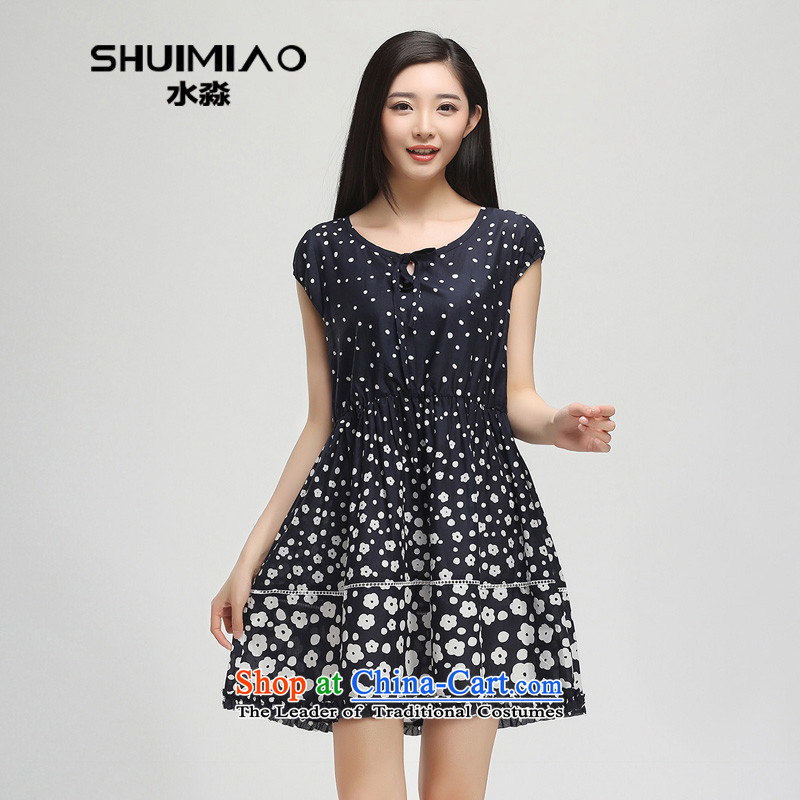 The representative of the water in the summer of 2015, replacing the new 200 catties larger female pure cotton short-sleeved saika dresses female S15XY4767 possession of燲L
