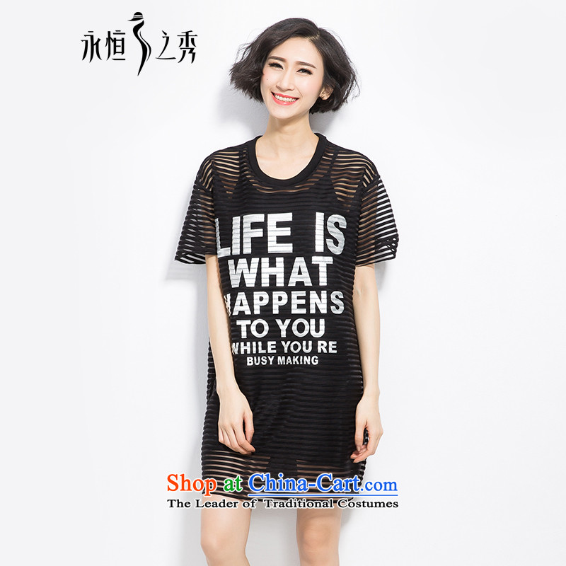 The spring and summer of 2015, the focus of the new Europe and the largest mm Female dress code stylish engraving streaks letters two kits short-sleeved T-shirt Black聽XL