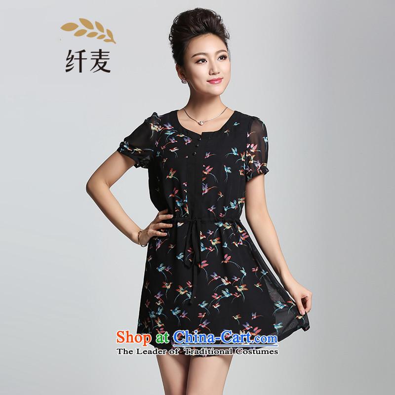 The former Yugoslavia Migdal Code women 2015 Summer new stylish mm thick birdie stamp temperament dresses燽lack�L 952101078