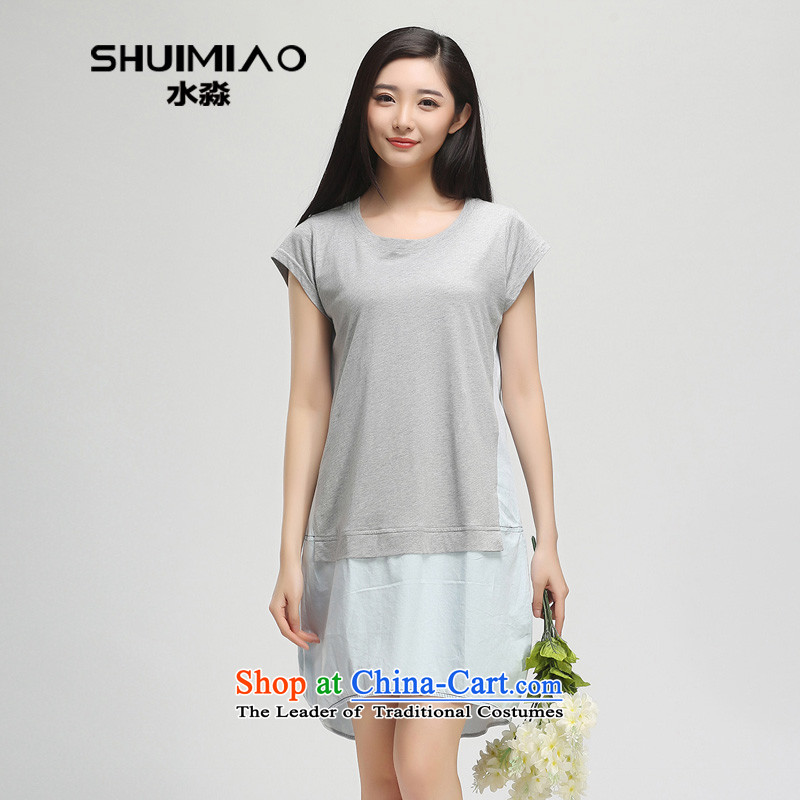 The representative of the water with the 2015 Summer new fat mm to xl short-sleeved denim dress S15XY5065 cowboy,L