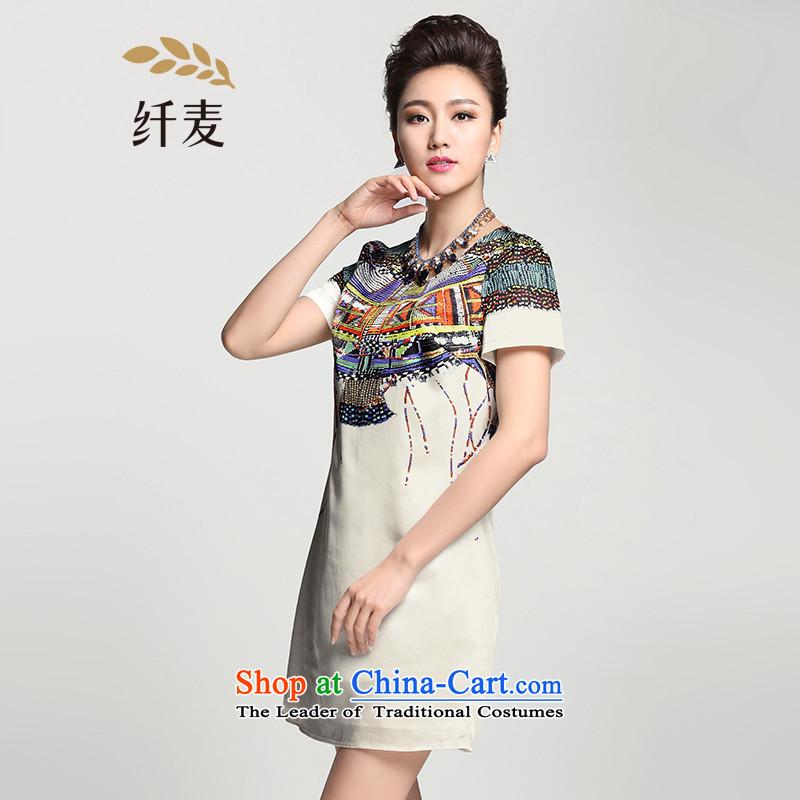 The former Yugoslavia Migdal Code women 2015 Summer New Stylish retro pattern mm thick temperament dresses�2103144燱hite� 2XL