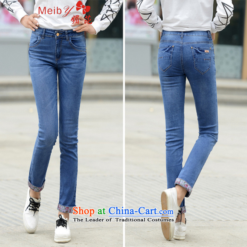 Large meiby female wild spring and summer new construction side 9 Female Straight Leg jeans female 9 shorts�512爈ight blue�